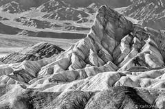 Manly Beacon - Death Valley National Park_B&W_20564 (www.karltonhuberphotography.com) Tags: 2014 bw blackandwhite california deathvalley deathvalleynationalpark desert geologicformation geologichistory geologicwonder geology horizontalimage iconic karltonhuber landscape manlybeacon nationalpark nature nikond7000 rockformations rugged shapes texture unforgiving zabriskiepoint