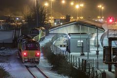 Sunday night at Westbury (Dai Lygad) Tags: trains railways railroads engines locos locomotives westbury colas nighttime atnight england uk snow wiltshire class70 flickr geotagged stock 70815
