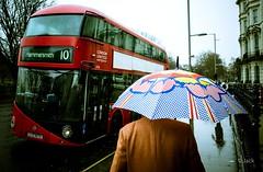 UK rain (Jack_from_Paris) Tags: r0003024 ricoh gr 28mm apsc capture nx2 lr monochrom noiretblanc street bw wide angle travailleur paysage urbain londres london car bus hammersmith rouge red parapluie mail