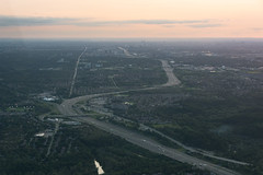 Highway 401 From Above (Ben_Senior) Tags: ontario canada flight flying bensenior pilot cessna cessna150 c150 landscape cityscape toronto ottawa campbellford trenton trentriver 401 highway401 highway airplane plane wing generalaviation ga aviation aircraft sunset sky light afternoon nikond7100 nikon d7100 river city town metropolis water field fields hill hills forest island