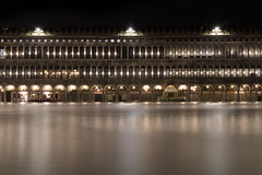 Piazza San Marco Acqua Alta (A Guy Taking Pictures) Tags: piazza san marco acqua alta st marks square high tide water waves rain winter long exposure a6000 flood venice italy night light reflection glow smooth