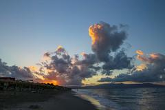 Sunset on Agia Marina (G E Nilsen) Tags: agia agioi greece crete beach sky clouds water vacation warm ferie solnedgang sunbeds sun umbrellas kydonia