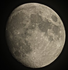 Hazy Waxing Gibbous Moon (Sarah and Simon Fisher) Tags: moon moonwatch lunar lunarseas craters astronomy astrophotography waxing gibbous nearlyfull cloudy naturalsatellite canon 600d maksutov 127mm telescope primefocus bromsgrove worcestershire uk