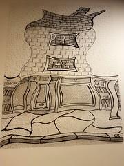 The Brioche Totnes. (jeffhill6) Tags: totnes abstractart peninkandgraphite architecture drawing linedrawing thebrioche art