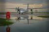 Stop / Wait (A Great Capture) Tags: transportation transport air hanlan'spoint canadian water q400 cityairport bombardier turboprop prop taxiing turning wings flight aviation billybishop toronto stopsign islandairport runway island airport reflection puddle airline porter propeller airplane plane