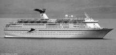 Scotland Greenock arriving in port the Magellan the first big cruise ship of 2018 13 April 2018 by Anne MacKay (Anne MacKay images of interest & wonder) Tags: scotland greenock cruise ship magellan sea monochrome blackandwhite mountain landscape xs1 13 april 2018 picture by anne mackay