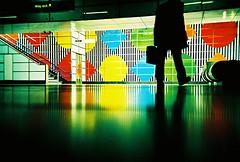 Lomo – shadows in the shapes (lomomowlem) Tags: analogue 35mm crossprocess colourstreambrighton expiredfilm groundshot kodakelitechrome lomo lomography lca lofi london publictransport ratseye silhouette tube underground urban xpro xprocess shapes stairs reflection wayout