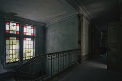 'A light landing'.... (Taken By Me Photography) Tags: takenbyme takenbymephotography abandoned adventure building closed creepy centre corridor derelict decay dark door d750 doors explore exploring empty eerie forgotten floor gone house hall home left lost nikon neglect light ruin shut stairs wall window walls
