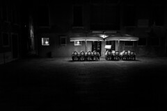 lost times (ChrisRSouthland) Tags: mm monochrome nightphotography nightshooting nightlights leicammonochrom elmarit28mmf28 venice bw blackandwhite blackwhite cafe night darkness empty