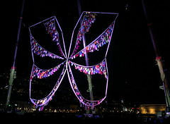Natacha Diels: Papillon and The Dancing Cranes (svennevenn) Tags: borealis borealis2018 bergen festivals natachadiels heisekraner constructioncranes festplassen