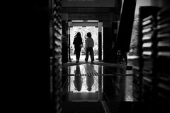 Female office workers - Lunch beark (明遊快) Tags: bw blackandwhite reflections light shadow trees japan japanese floor lines entrance door building