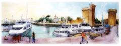 La Rochelle - Poitou Charente - France (guymoll) Tags: larochelle vendée france croquis sketch sepia sépia port harbour bateaux ships boats googleearthstreetview poitoucharente