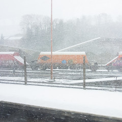 Containers in the blizzard on the way to work (Gemma Hentsch) Tags: instagram ifttt beastfromeast snow london londonsnow southlondon southcroydon trainphotography trainphotograph trainphoto allotment blizzard rx100 sony sonyrx100 f18 2000s trainspotting