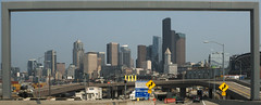 road got framed (n.a.) Tags: seattle driving road frame skyline skyscrapers hh wa us