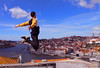 Jump jump jump (Octubres rotos) Tags: jump guy porto portugal boy man bridge river city travel spring summer sky color albapardoom canon 1100d 1855 free freedom salta salto sun europe young teen teenager yellow urban up happy happiness landscape cielo verano primavera beauty beautiful chico rio oporto ciudad juventud youth jumping vilanova de gaia water agua