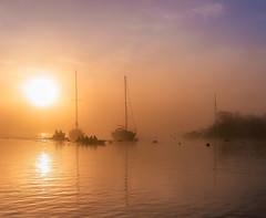 rowers return from out of the mist (Anthony White) Tags: christchurch gb england mist yachts sunrise orange mistymorning anthonywhitesphotography christchurchyachtclub