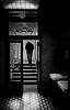 public bathroom (heinzkren) Tags: silhouette stairs öffentlich toilette jugendstil schwarzweis blackandwhite bw sw monochrome aufgang treppe tür door glass mann man street streetphotography candid wien vienna artnouveau panasonic lumix exit