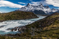Salto Grande and Paine Grande (Piotr_PopUp) Tags: saltogrande lago lake nordenskjöld pehoe torresdelpaine painegrande patagonia chile ultimaesperanza southamerica latinamerica water waterfall landscape nature mountains longexposure slowshutter river rio kitsch