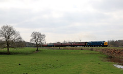 40135 - Burrs Country Park (Andrew Edkins) Tags: britishrail brblue overcast tree type4 gala trip travel passenger canon uk geotagged spring 2018 bury april railwayphotography countrypark englishelectric england burrs light preservedrailway eastlancashirerailway bucket whistler class40 40135