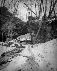 Soft Focus (Phil Roeder) Tags: maquoketa iowa maquoketacavesstatepark snow winter statepark caves limestone intrepidcameraco 4x5 largeformat schneiderkreuznachsuperangulon1890 ilfordfp4plus blackandwhite monochrome