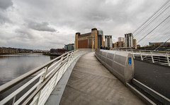 Newcastle by the banks of the river Tyne. (CWhatPhotos) Tags: cwhatphotos gateshead olympus em5 mk ii micro four thirds camera bodycap body cap fisheye fish eye lens 9mm photographs photograph pics pictures pic picture image images foto fotos photography artistic that have which contain newcastle upon tyne river bythe north east england uk bridge span crossing millennium blue water host city day skies thebaltic baltic buildings clouds wide angle tilt tilting reflection reflections
