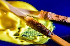 finished (johnnyb803) Tags: macromondays condiment macro mustard yellow blue corndog jcbrown
