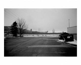Verso from Super One parking lot, alternate version, black & white film