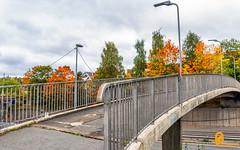 Bridge (pramodphotography7) Tags: bridge fallcolors fall autumn nydalen oslo norway sky cloud trees leaves streetlight