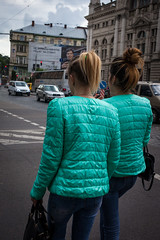 1706042a (Bogdan Szadowski) Tags: lviv ukraine brightcolours colourfuljacket jacket outdoor people streetphoto vividcolours woman lvivoblast ua