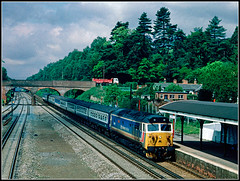 50018, Winchfield (Jason 87030) Tags: nse networksoutheast station waterloo exeter tracks bridge vantage point june summer weather trees look nive resolution 50018 class50 diesel locomotive stripes toothpaste express service train scan slide