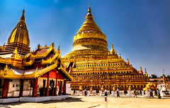 Shwezigon Temple Bagan Myanmar-5a (Yasu Torigoe) Tags: gold color temple sony a65 dt18250mm shweizion bagan myanmar burma feb2015 noon asia pagoda buddhist chyar tree blue sky religious ancient building nyaungu saved architecture tower