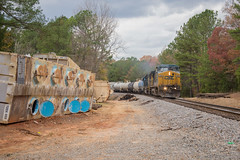 Derailment Zone (ajketh) Tags: csx csxt freight train railroad derailment south carolina north nc sc waxhaw van wyck dpu q616 f762 ge general electric cloudy derailed cars materials scrap cut 7757 sd502 emd cw408