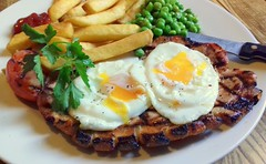 Grilled Pork, Fried Eggs, Peas and Chips (Tony Worrall) Tags: add tag ©2018tonyworrall images photos photograff things uk england food foodie grub eat eaten taste tasty cook cooked iatethis foodporn foodpictures picturesoffood dish dishes menu plate plated made ingrediants nice flavour foodophile x yummy make tasted meal nutritional freshtaste foodstuff cuisine nourishment nutriments provisions ration refreshment store sustenance fare foodstuffs meals snacks bites chow cookery diet eatable fodder yolk eggs meat pork fried peas fries