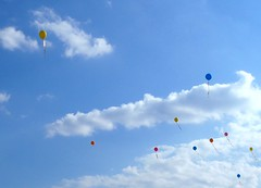 Balloons escaping to the clouds (Francesco Pesciarelli) Tags: balloons sky clouds flickr pesha colors life big downloadable mentionmyname varied collection thoughtful colours