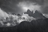Where earth meets sky (Rick Elkins) Tags: bw black white peaks jagged dolomites italy
