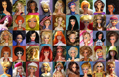 Happy collage of OOAKs, re-roots & other pretty girls (skipscales) Tags: barbie francie stacey julia jamie pj casey midge steffie malibu 1960s 1970s 1980s dolls mattel fashion reroot ooak hats hair repro