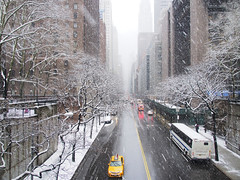 March Snow Storm (Steven Bornholtz) Tags: march snow storm steve steven bornholtz usa us united states america ny nyc new york city manhattan turtle bay tudor winter weather flakes djmidway midway dj olympus getolympus ep5 pen micro four thirds photography imager pictures pedestrian overpass taxi covered trees