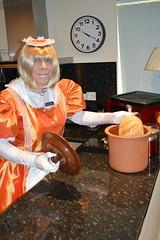 Orange maid uniform 16 (sissybarbie1066) Tags: sissymaid sissy maid uniform orange shot red taffeta slave collar