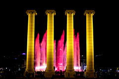 The Magic Fountain Of Montjuic (Fnikos) Tags: plaça plaza parc park parco montjuic montjuïc architecture column fountain fontaine fuente water music magic colour color people light night sky show nightshow nightview outdoor