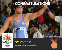 Somveer wins bronze at gold coast cwg 2018 (Cloudy4u) Tags: 2018 commonwealthgames goldcoast goldmedal india mensfreestyle somveer wrestling