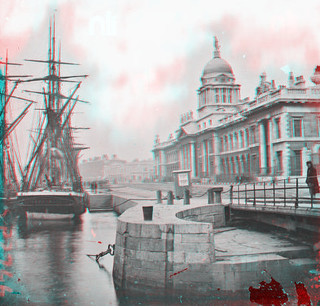 S.S. Adolphine at the Custom House in Dublin (anaglyph)