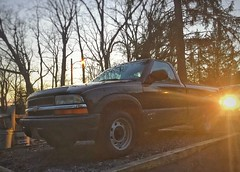 Lighted Truck (chuck_hickory) Tags: 1999 sunlight sunset flash light trees truck chevy s10