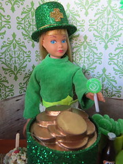 4. Enjoying a green lolli (Foxy Belle) Tags: doll party st patricks day patrick irish green celebrate holiday barbie food glitter hat 16 scale playscale dollhouse miniature diorama room wallpaper decoration shamrock vintage