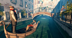 Bellissimo (brie hinterland) Tags: venice water sl secondlife 3d 3dart mesh avi avatar boat people men women woman man gondola