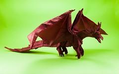 Ancient Dragon (DarknessUndefined) Tags: satoshi kamiya ancient dragon origami myth mythological creatures ancientdragon fold display art folding paper tissue doubletissue mc mcdoubletissue methycellulose