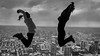High jump  !!! (paullangton) Tags: canada cntower monochrome bw blackandwhite jump view city fun vista skancheli