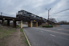 Triclops Overhead (ajketh) Tags: ns norfolk southern emd sd60m 6814 d940cw ge general electric whaley street columbia sc south carolina nc north 118 bridge trestle cloudy wide 191 rline 9240