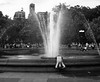 Fountain Yoga (matt_co) Tags: newyork ny washingtonsquare greenwichvillage streetphotography blackandwhite bw monochrome fountain yoga relax relaxation public olympus micro43