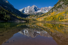 Maroon Bells Reflection (NickSouvall) Tags: maroon bells lake water reflection mirror calm morning sunrise light mountains mount peak range fall color autumn foliage aspen forest colorado colorful snow peaks landscape nature photo photography photographer adventure explore