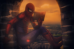 The decision book (olgavareli) Tags: olga vareli spider man reading book city sunset rest decision humour